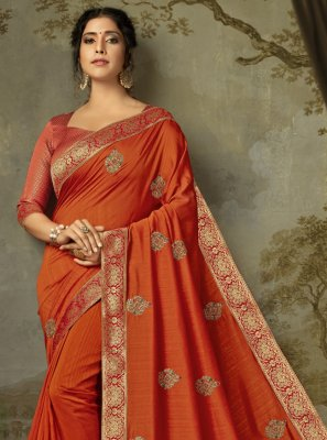 Silk Orange Designer Saree