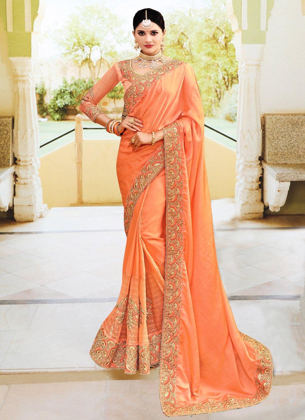 Silk Orange Embroidered Classic Designer Saree