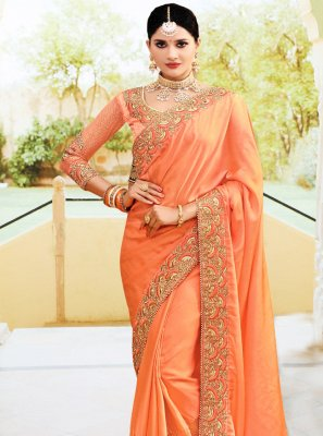 Silk Orange Embroidered Classic Designer Saree
