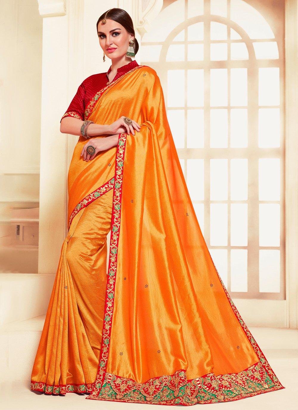 Silk Orange Embroidered Contemporary Saree