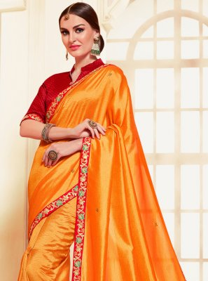 Silk Orange Embroidered Contemporary Saree