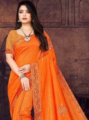 Silk Orange Lace Trendy Saree