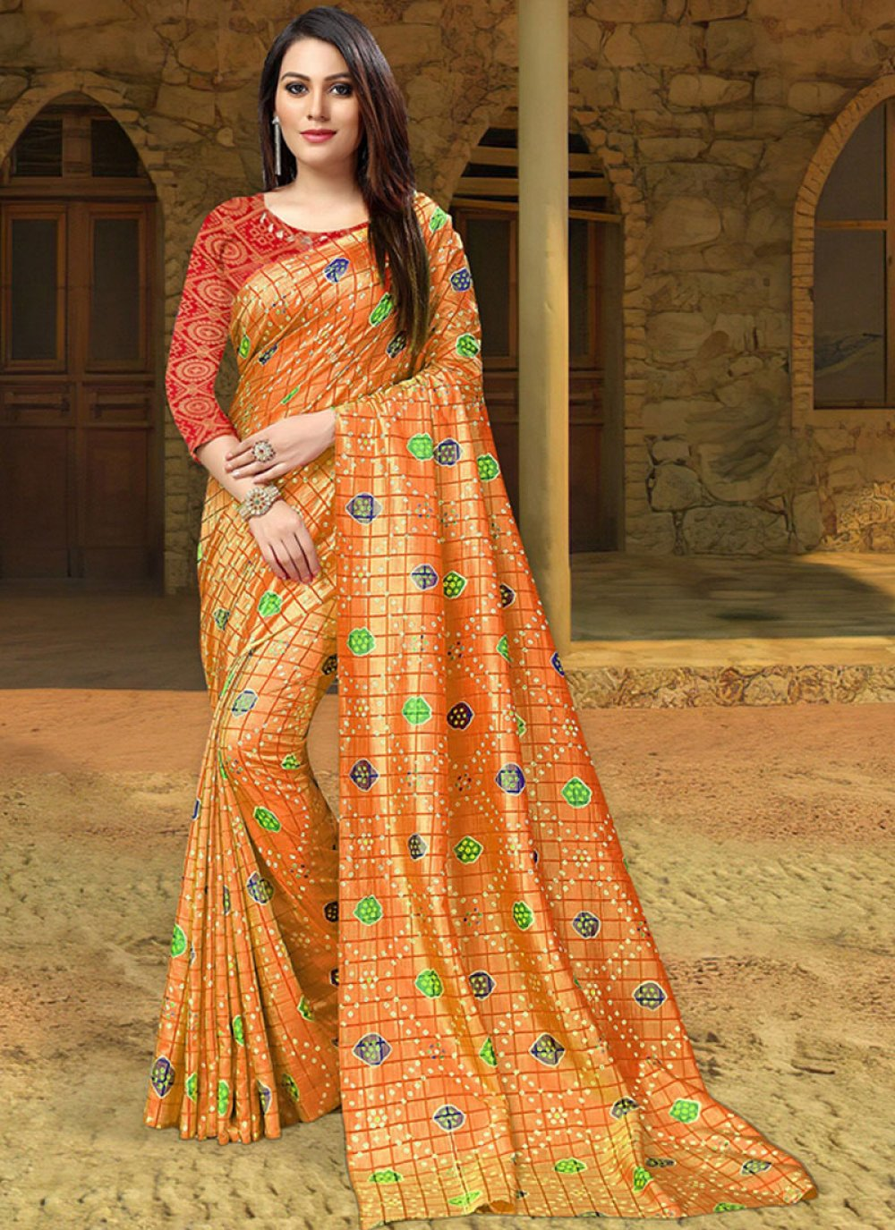 Silk Orange Print Silk Saree