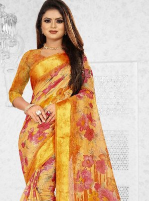 Silk Orange Saree