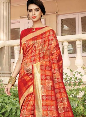 Silk Orange Silk Saree