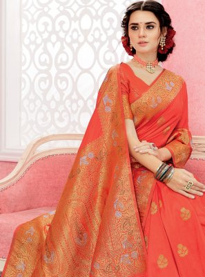 Silk Orange Weaving Contemporary Saree