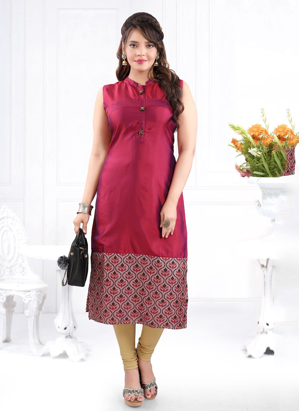 Silk Party Casual Kurti