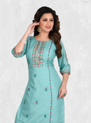 Silk Party Wear Kurti in Aqua Blue