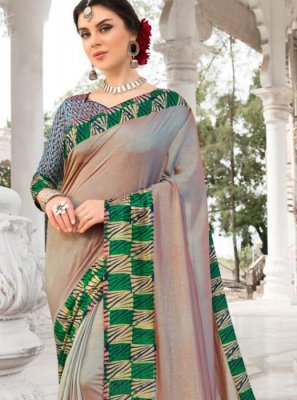 Silk Patch Border Beige Saree