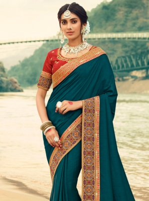 Silk Patch Border Blue Trendy Saree