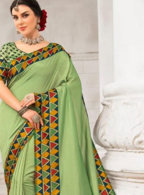Silk Patch Border Green Saree