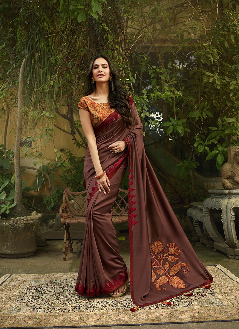 Silk Patchwork Traditional Saree in Brown