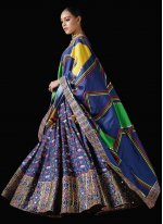 Silk Patola Print Bollywood Lehenga Choli in Blue