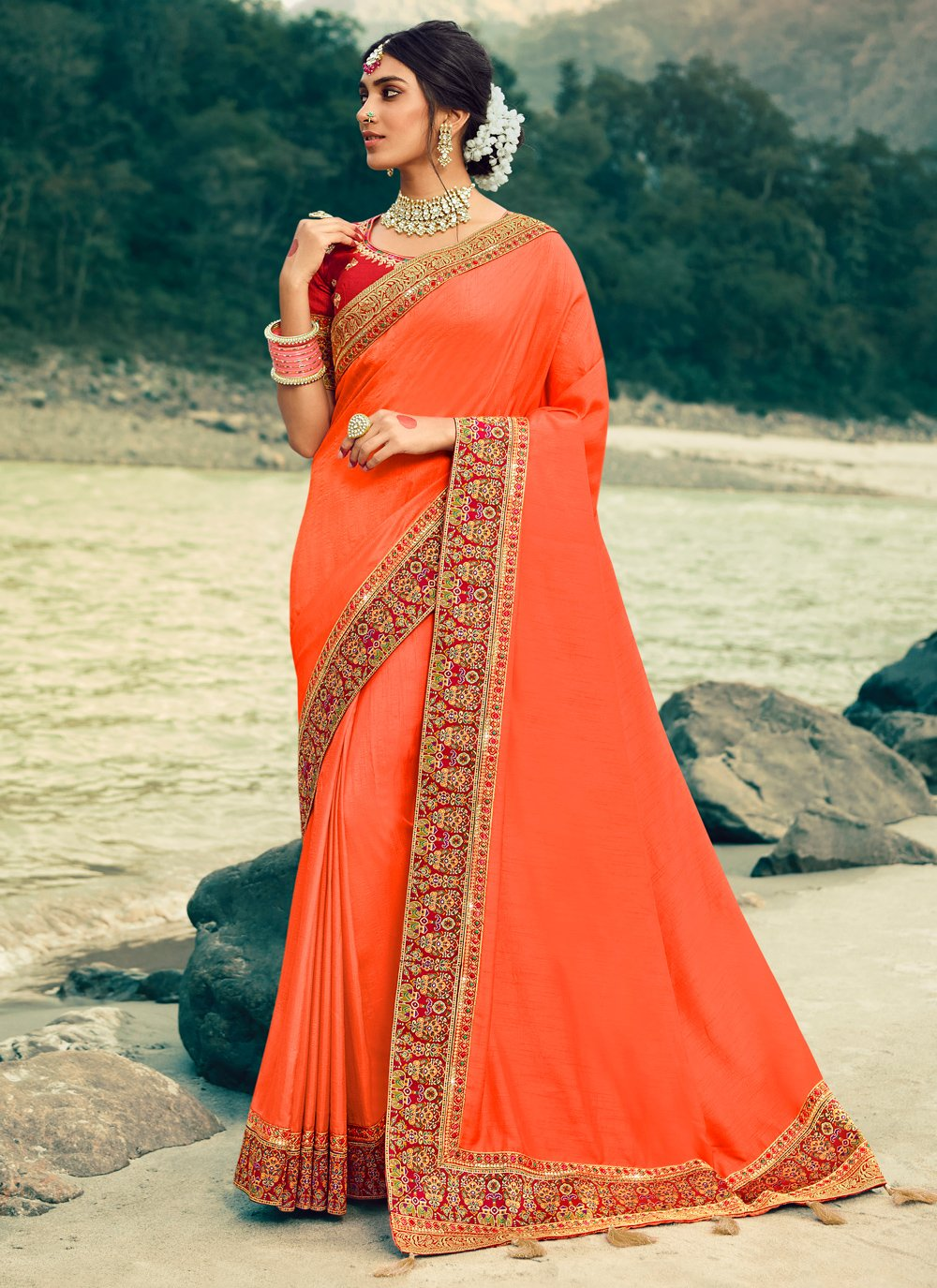 Silk Peach Bollywood Saree