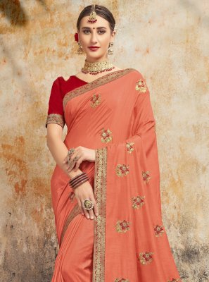 Silk Peach Embroidered Traditional Saree