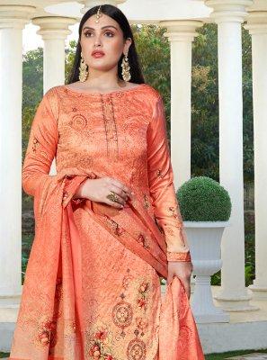 Silk Peach Resham Designer Palazzo Salwar Kameez