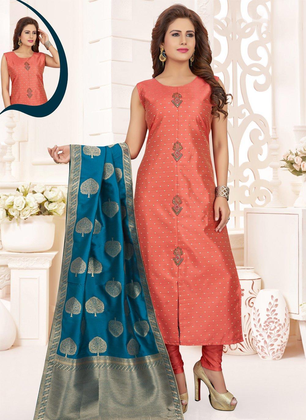 Silk Peach Salwar Suit