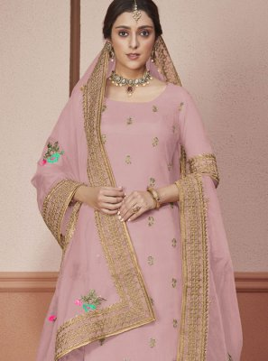 Silk Pink Anarkali Salwar Kameez
