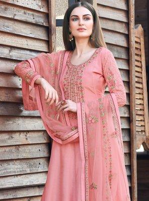 Silk Pink Embroidered Anarkali Salwar Kameez