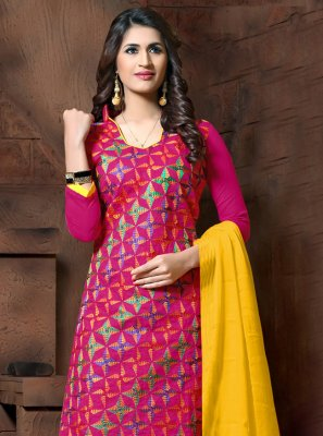 Silk Pink Embroidered Churidar Salwar Kameez