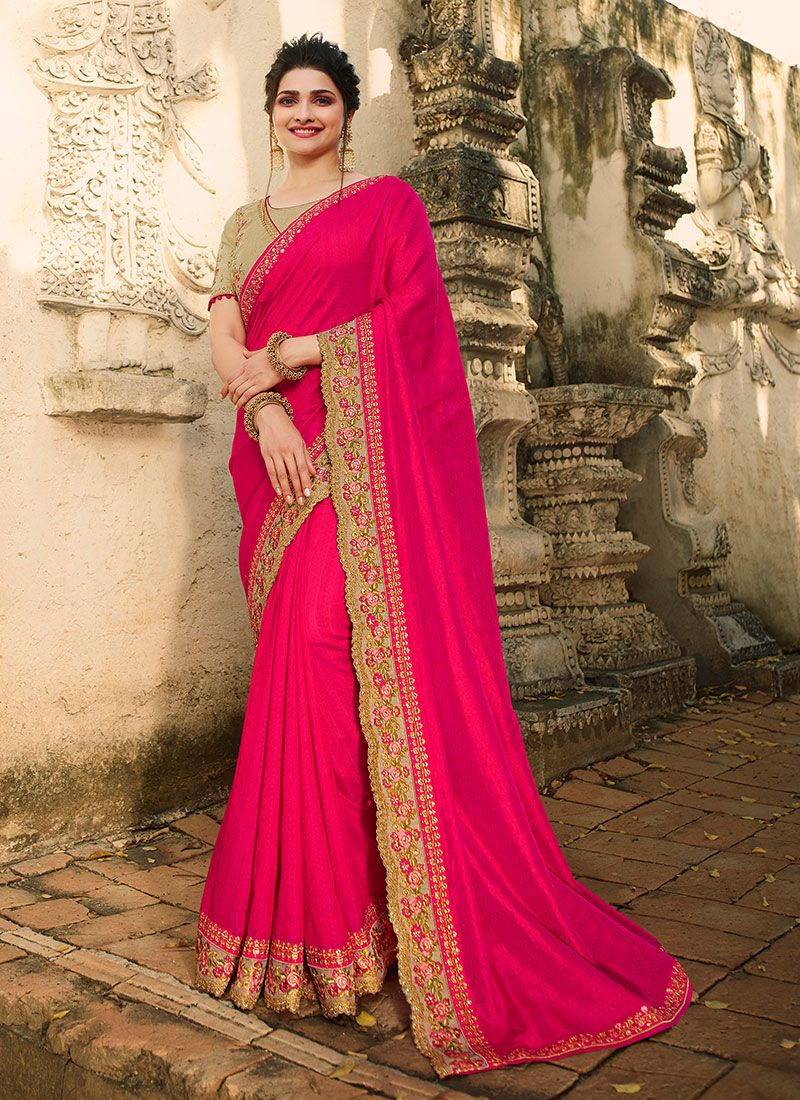 Silk Pink Embroidered Classic Saree
