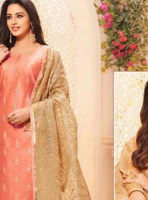 Silk Pink Embroidered Designer Salwar Kameez