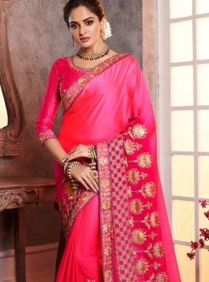 Silk Pink Embroidered Designer Saree