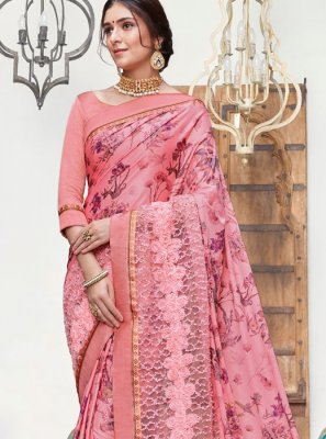 Silk Pink Embroidered Traditional Saree