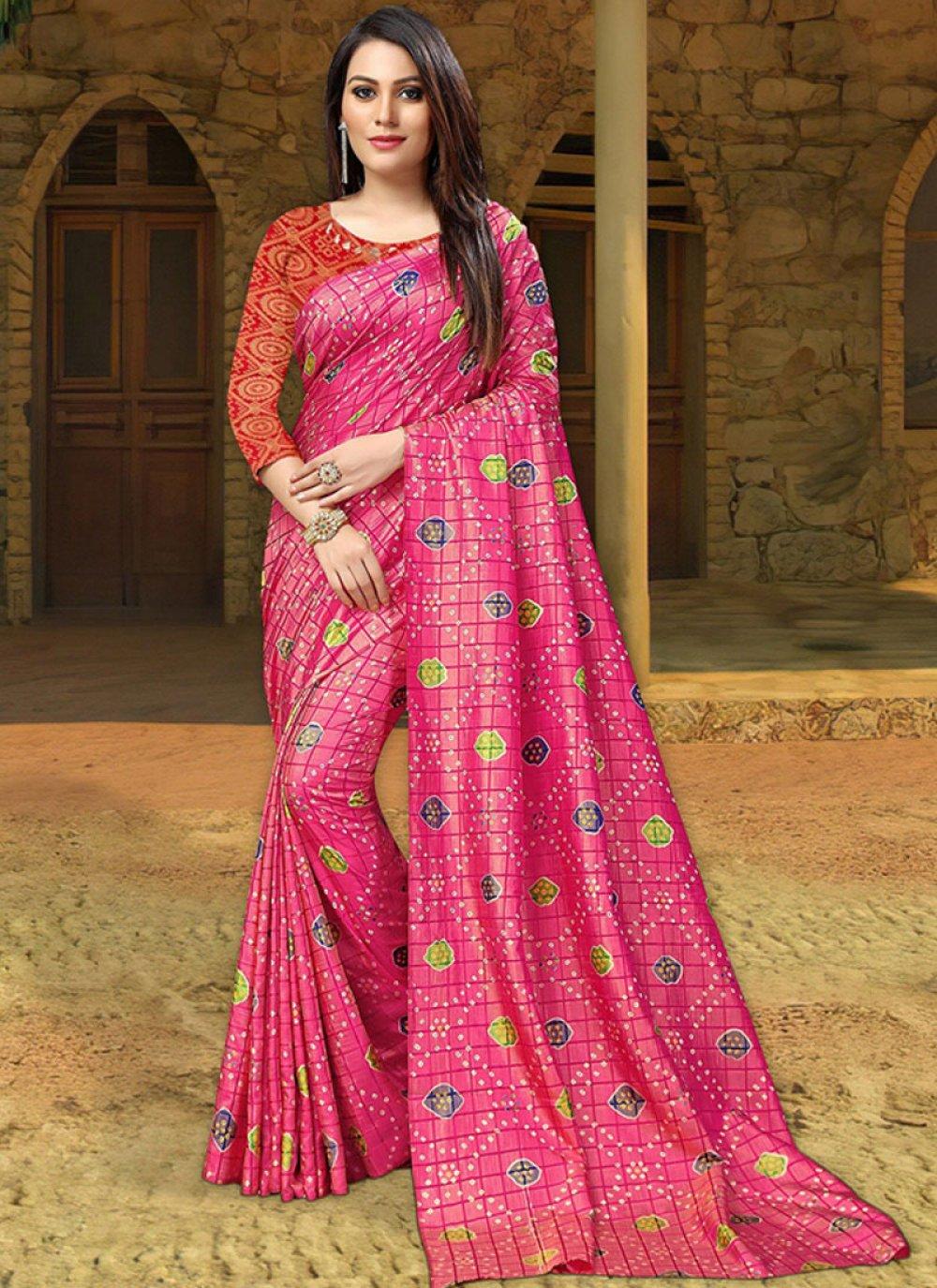 Silk Pink Print Silk Saree