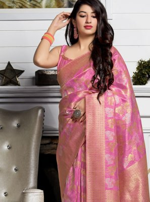 Silk Pink Silk Saree