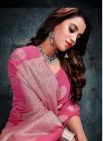 Silk Pink Weaving Casual Saree