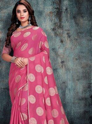 Silk Pink Weaving Casual Saree