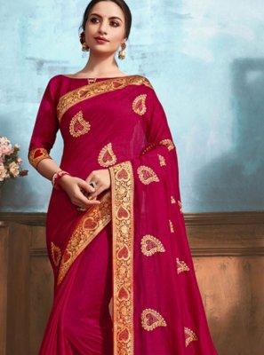 Silk Pink Weaving Classic Designer Saree