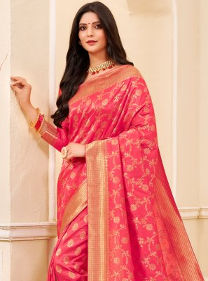 Silk Pink Weaving Classic Saree