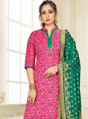 Silk Pink Weaving Designer Suit