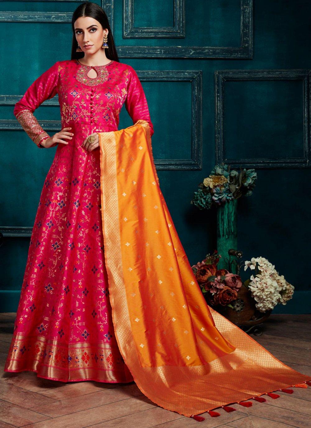 Silk Pink Weaving Salwar Kameez