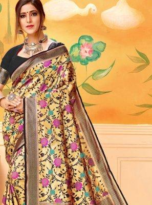 Silk Print Black Classic Saree