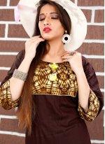 Silk Printed Brown Party Wear Kurti
