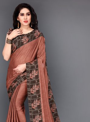 Silk Printed Brown Trendy Saree