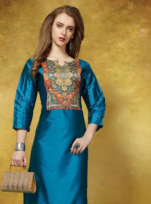 Silk Printed Casual Kurti in Blue