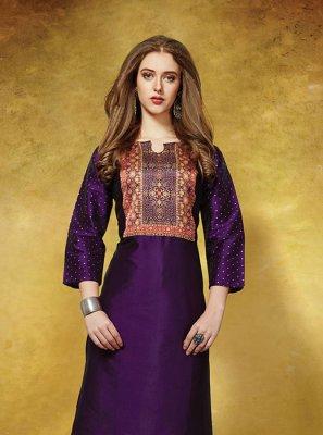 Silk Printed Casual Kurti in Purple