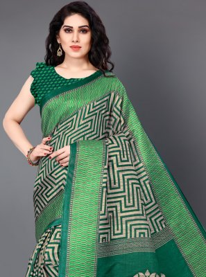 Silk Printed Green Designer Saree