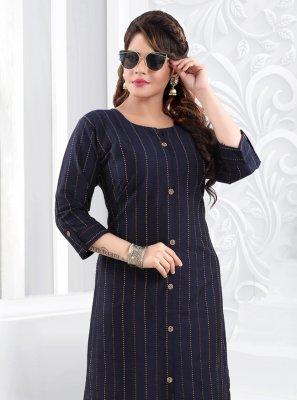 Silk Printed Party Wear Kurti in Navy Blue