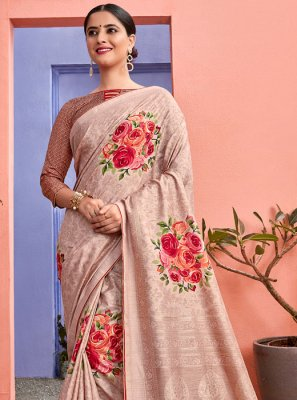 Silk Printed Saree in Peach