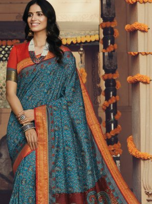 Silk Printed Trendy Saree
