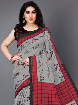 Silk Printed Trendy Saree in Grey