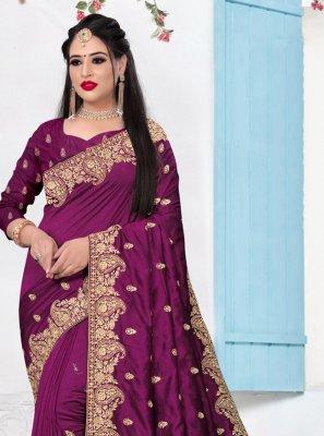 Silk Purple Contemporary Saree