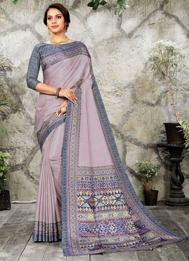 Silk Purple Digital Print Casual Saree