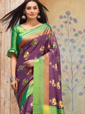 Silk Purple Weaving Classic Saree