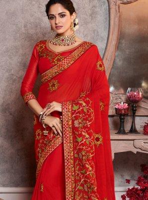 Silk Red Border Classic Saree